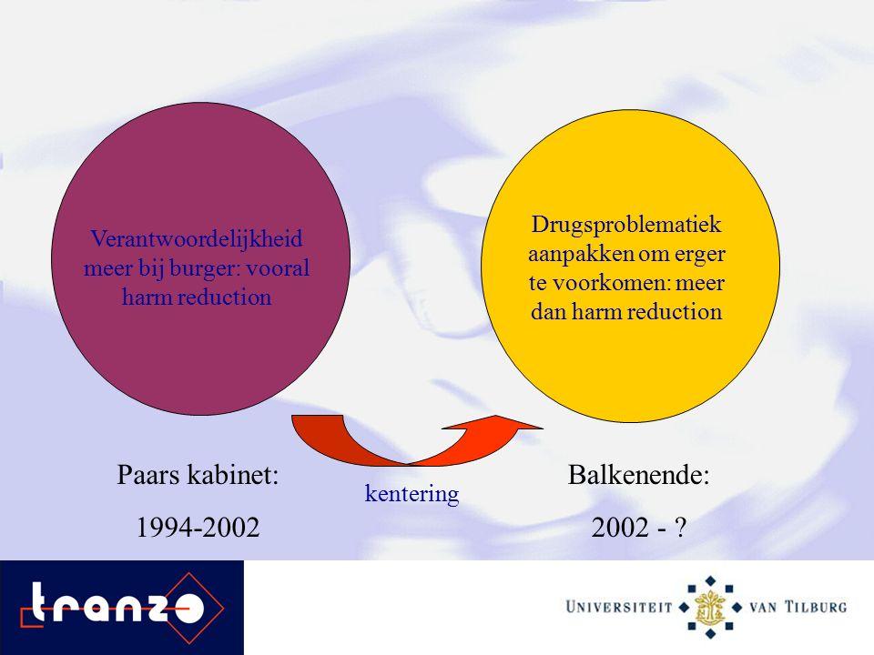 Verantwoordelijkheid meer bij burger: vooral harm reduction Balkenende: 2002 - .