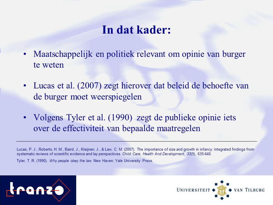 In dat kader: Maatschappelijk en politiek relevant om opinie van burger te weten Lucas et al.