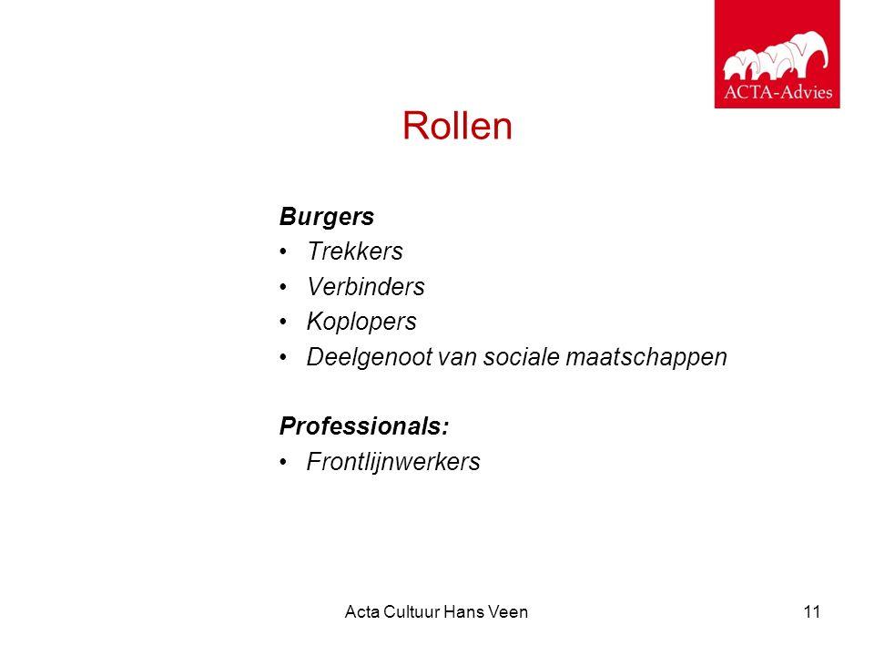 Acta Cultuur Hans Veen11 Rollen Burgers Trekkers Verbinders Koplopers Deelgenoot van sociale maatschappen Professionals: Frontlijnwerkers