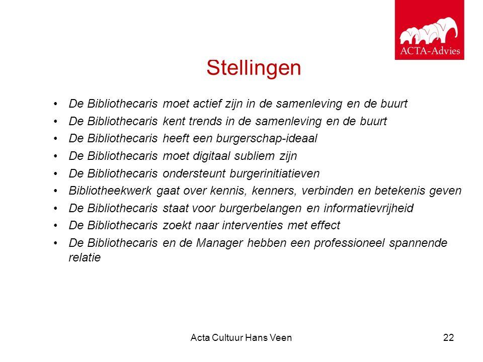 Acta Cultuur Hans Veen22 Stellingen De Bibliothecaris moet actief zijn in de samenleving en de buurt De Bibliothecaris kent trends in de samenleving e