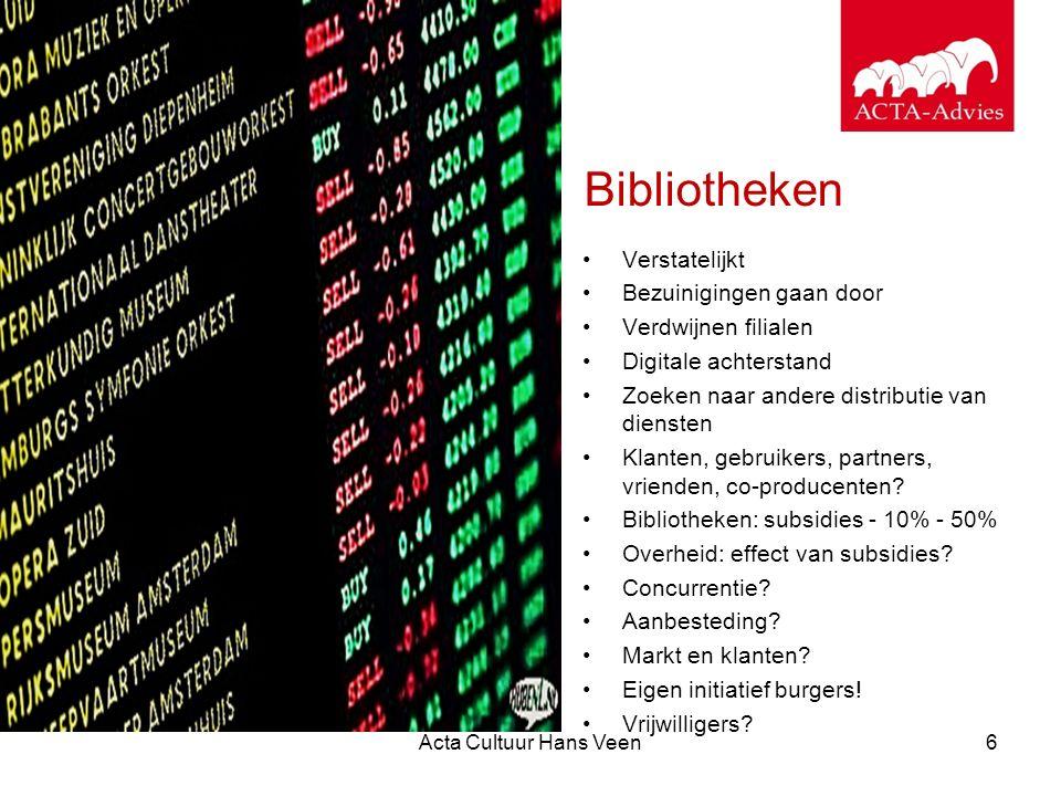 Acta Cultuur Hans Veen6 Bibliotheken Verstatelijkt Bezuinigingen gaan door Verdwijnen filialen Digitale achterstand Zoeken naar andere distributie van
