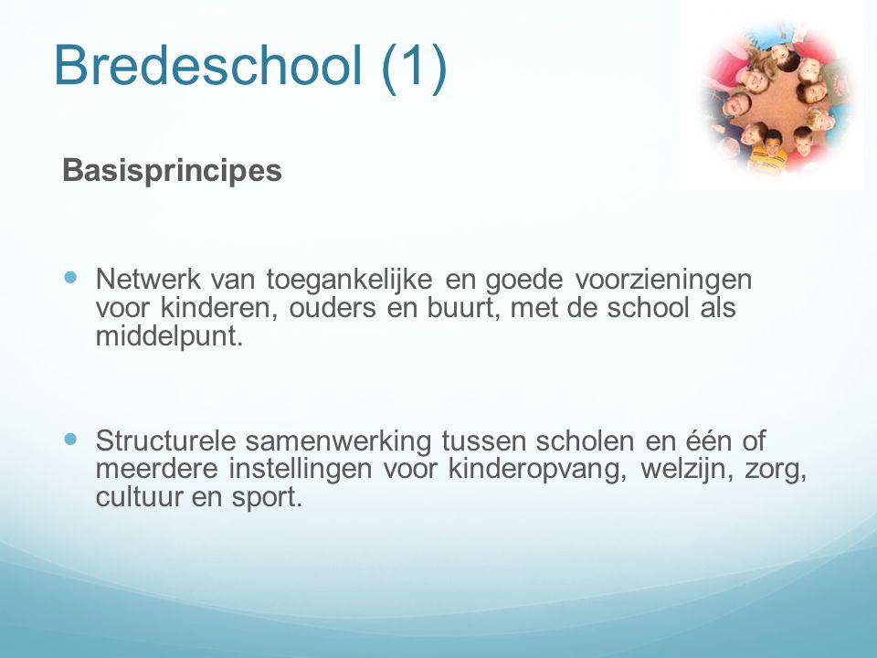 Bredeschool (1) Basisprincipes Netwerk van toegankelijke en goede voorzieningen voor kinderen, ouders en buurt, met de school als middelpunt.