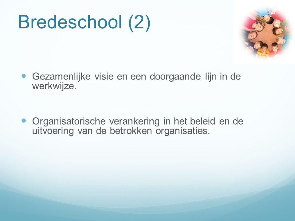 Bredeschool (2) Gezamenlijke visie en een doorgaande lijn in de werkwijze.