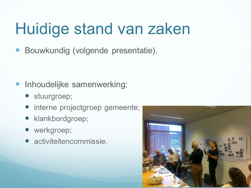 Huidige stand van zaken Bouwkundig (volgende presentatie).