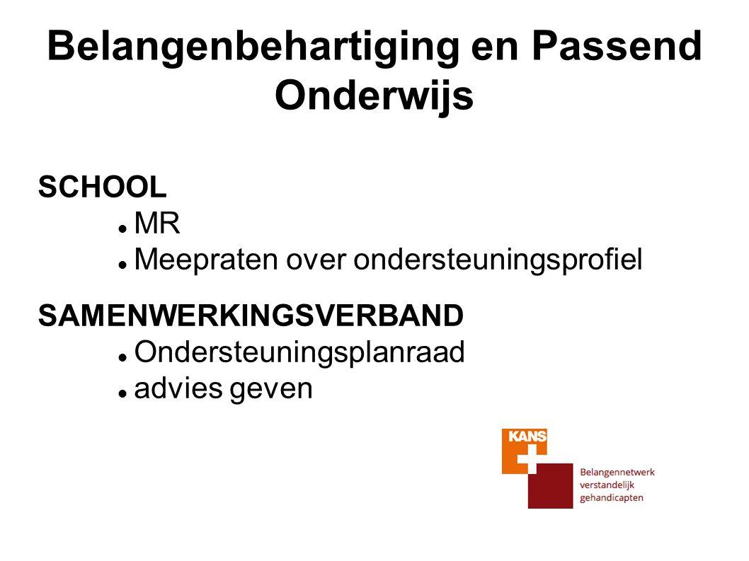 Belangenbehartiging en Passend Onderwijs SCHOOL MR Meepraten over ondersteuningsprofiel SAMENWERKINGSVERBAND Ondersteuningsplanraad advies geven