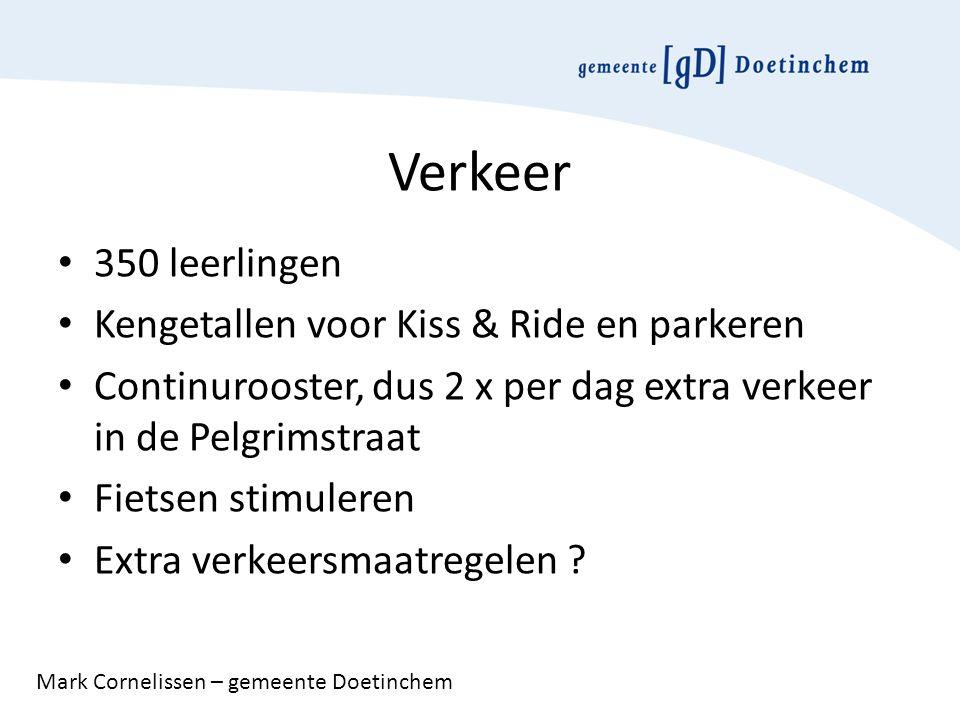 Verkeer 350 leerlingen Kengetallen voor Kiss & Ride en parkeren Continurooster, dus 2 x per dag extra verkeer in de Pelgrimstraat Fietsen stimuleren Extra verkeersmaatregelen .
