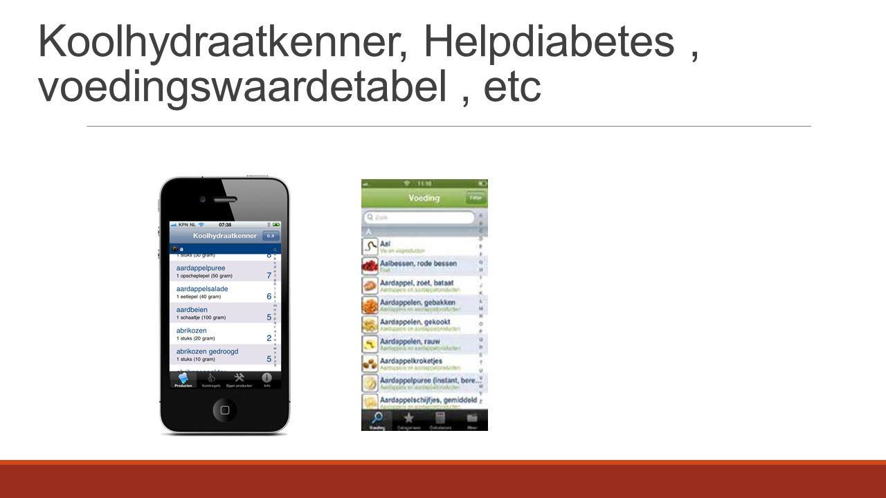 Koolhydraatkenner, Helpdiabetes, voedingswaardetabel, etc
