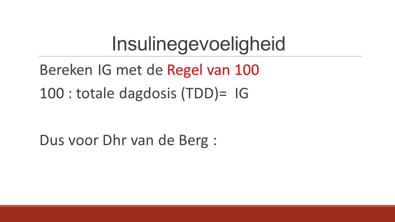 Insulinegevoeligheid Bereken IG met de Regel van 100 100 : totale dagdosis (TDD)= IG Dus voor Dhr van de Berg :