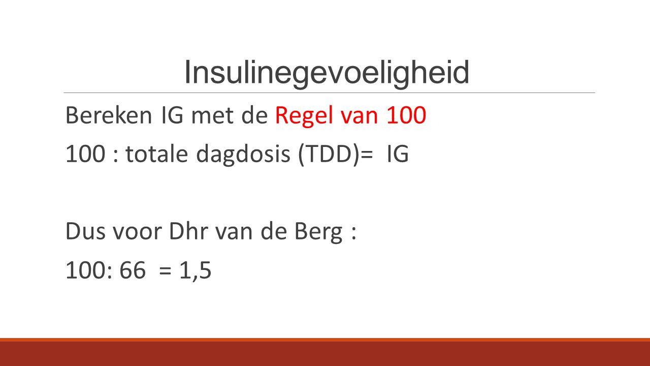 Insulinegevoeligheid Bereken IG met de Regel van 100 100 : totale dagdosis (TDD)= IG Dus voor Dhr van de Berg : 100: 66 = 1,5