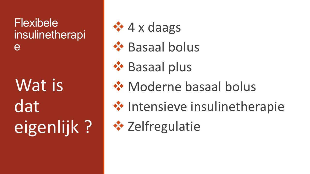 Flexibele Insuline Therapie  Tijdstip van injectie  Insuline afstemmen op maaltijd / koolhydraten  Insuline afstemmen op activiteit  Insuline afstemmen op hoogte van bloedglucose F.