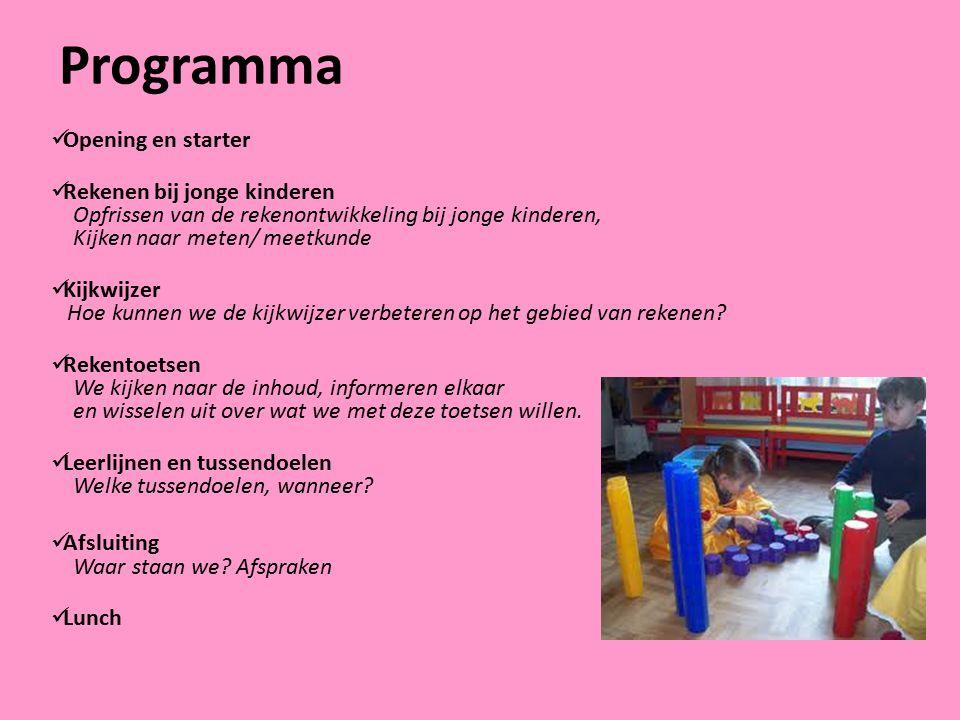 Programma Opening en starter Rekenen bij jonge kinderen Opfrissen van de rekenontwikkeling bij jonge kinderen, Kijken naar meten/ meetkunde Kijkwijzer
