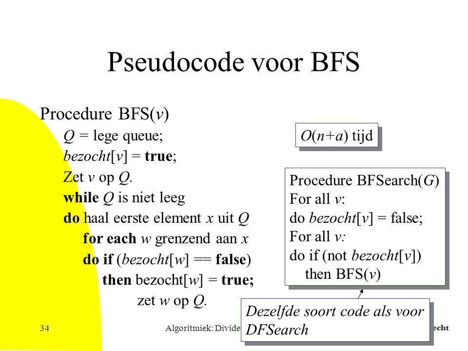 Algoritmiek: Divide & Conquer34 Pseudocode voor BFS Procedure BFS(v) Q = lege queue; bezocht[v] = true; Zet v op Q.