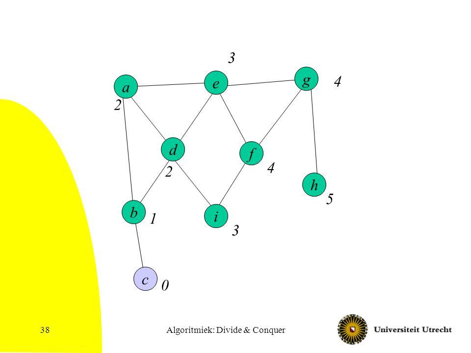 Algoritmiek: Divide & Conquer38 h a d e i b c f g 0 1 2 2 3 3 4 4 5