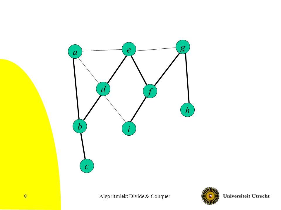 Algoritmiek: Divide & Conquer40 BFS met afstanden Procedure BFS(v) Q = lege queue; bezocht[v] = true; d[v] = 0; Zet v op Q.