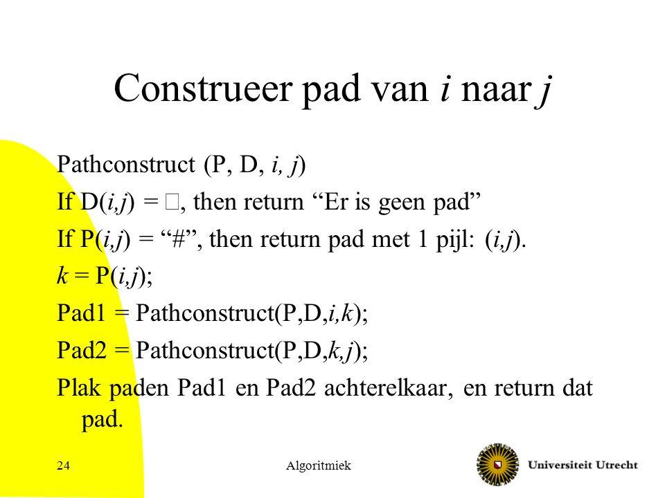 Algoritmiek24 Construeer pad van i naar j Pathconstruct (P, D, i, j) If D(i,j) = , then return Er is geen pad If P(i,j) = # , then return pad met 1 pijl: (i,j).
