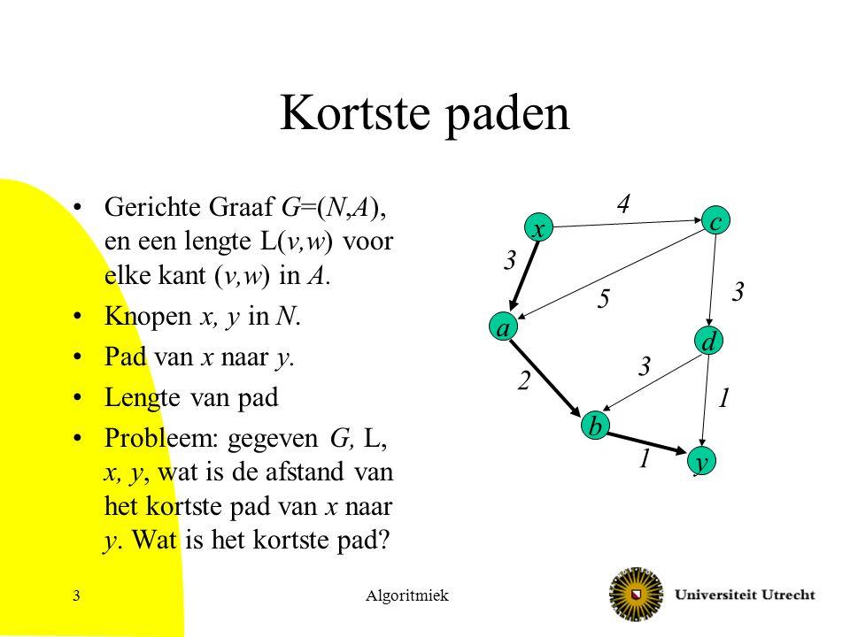 Algoritmiek14 Dynamisch programmeer algoritme voor all pairs kortste paden probleem Deelproblemen Nummer de knopen 1, 2, …, n.