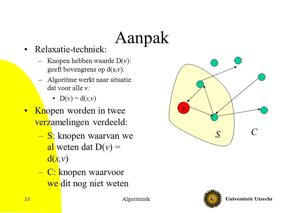 Algoritmiek33 Aanpak Relaxatie-techniek: –Knopen hebben waarde D(v): geeft bovengrens op d(s,v).