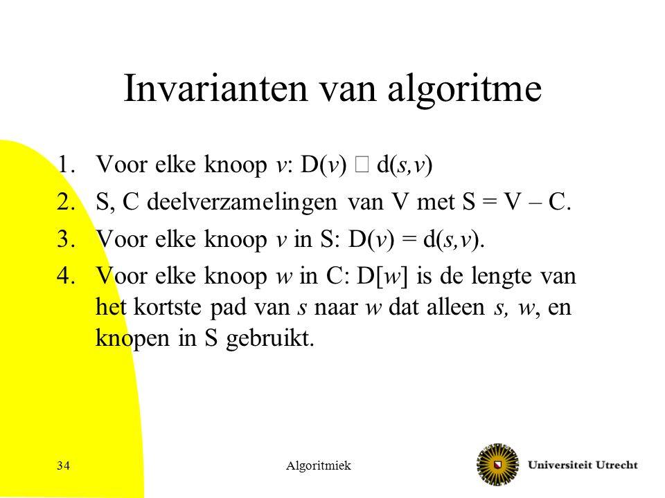 Algoritmiek34 Invarianten van algoritme 1.Voor elke knoop v: D(v)  d(s,v) 2.S, C deelverzamelingen van V met S = V – C.