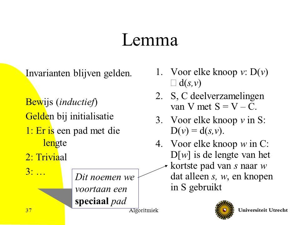 Algoritmiek37 Lemma Invarianten blijven gelden.