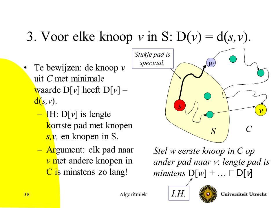 Algoritmiek38 3. Voor elke knoop v in S: D(v) = d(s,v).