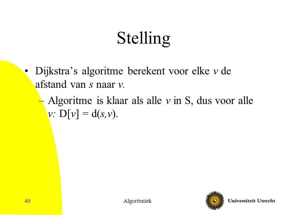 Algoritmiek40 Stelling Dijkstra's algoritme berekent voor elke v de afstand van s naar v.