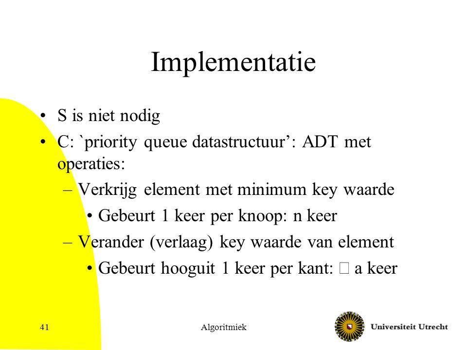 Algoritmiek41 Implementatie S is niet nodig C: `priority queue datastructuur': ADT met operaties: –Verkrijg element met minimum key waarde Gebeurt 1 keer per knoop: n keer –Verander (verlaag) key waarde van element Gebeurt hooguit 1 keer per kant:  a keer