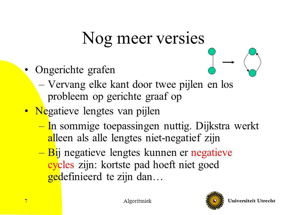 Algoritmiek7 Nog meer versies Ongerichte grafen –Vervang elke kant door twee pijlen en los probleem op gerichte graaf op Negatieve lengtes van pijlen –In sommige toepassingen nuttig.