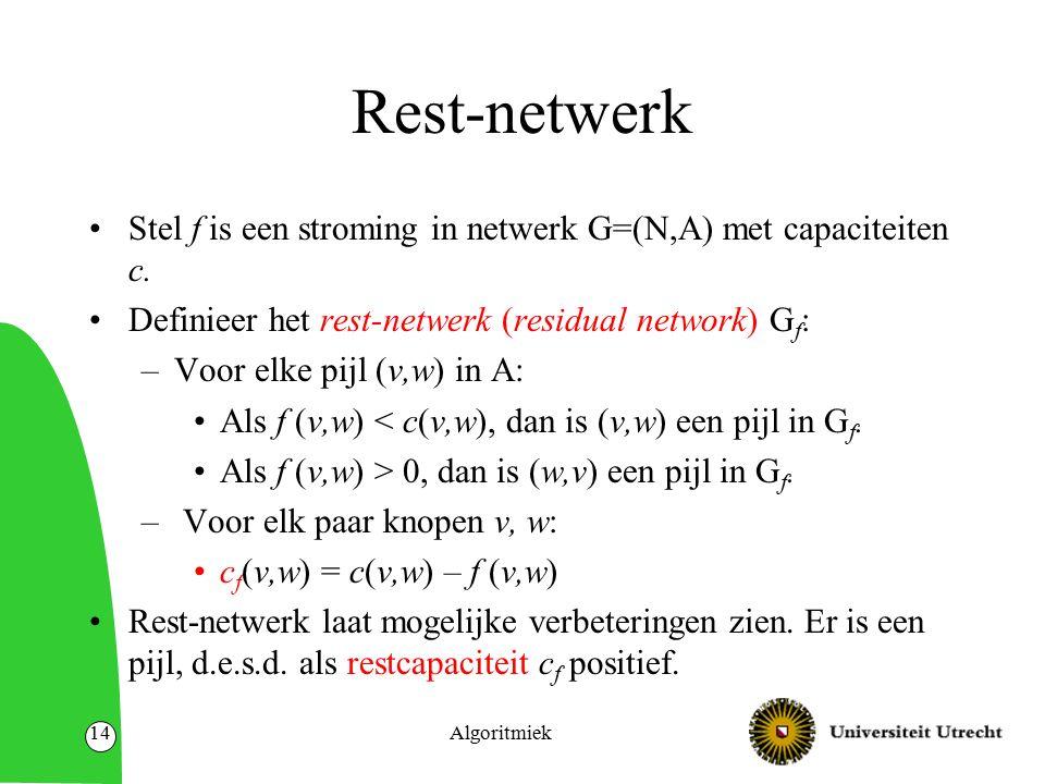 Algoritmiek14 Rest-netwerk Stel f is een stroming in netwerk G=(N,A) met capaciteiten c.