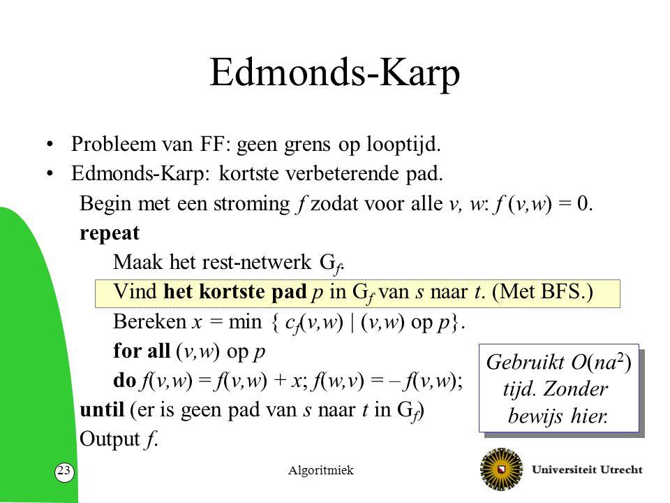 Algoritmiek23 Edmonds-Karp Probleem van FF: geen grens op looptijd.