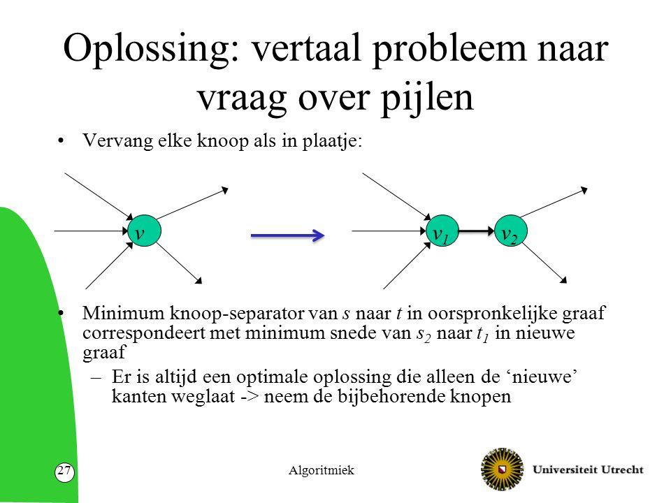 Oplossing: vertaal probleem naar vraag over pijlen Vervang elke knoop als in plaatje: Minimum knoop-separator van s naar t in oorspronkelijke graaf correspondeert met minimum snede van s 2 naar t 1 in nieuwe graaf –Er is altijd een optimale oplossing die alleen de 'nieuwe' kanten weglaat -> neem de bijbehorende knopen Algoritmiek27 v v1v1 v2v2