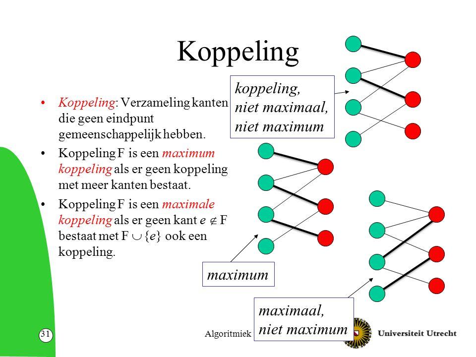 Algoritmiek31 Koppeling Koppeling: Verzameling kanten die geen eindpunt gemeenschappelijk hebben.
