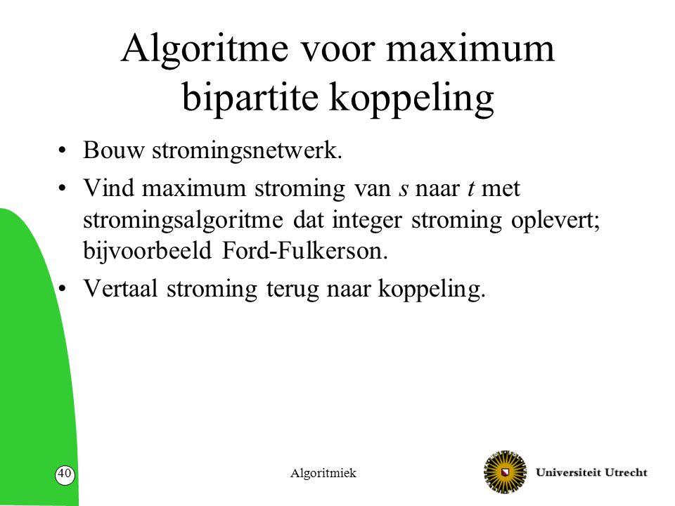 Algoritmiek40 Algoritme voor maximum bipartite koppeling Bouw stromingsnetwerk.