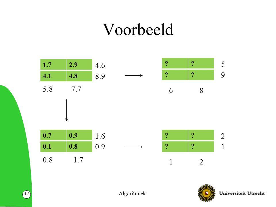 Voorbeeld Algoritmiek47 0.70.9 0.10.8 ?. ?. 1.7 1.6 0.9 12 2 1 ?.
