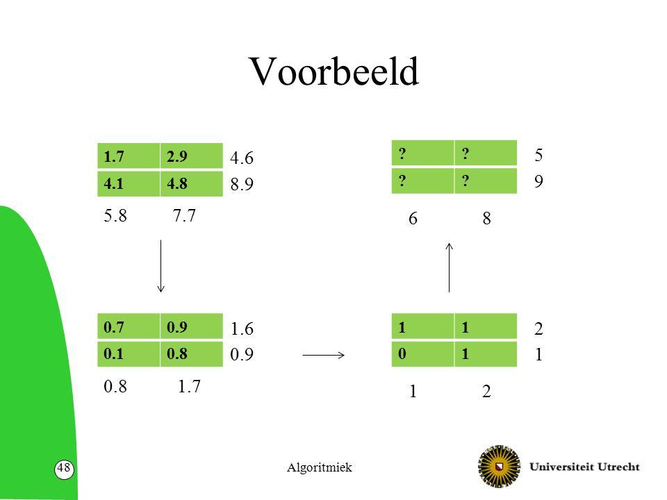 Voorbeeld Algoritmiek48 0.70.9 0.10.8 11 01 1.7 1.6 0.9 12 2 1 ?.