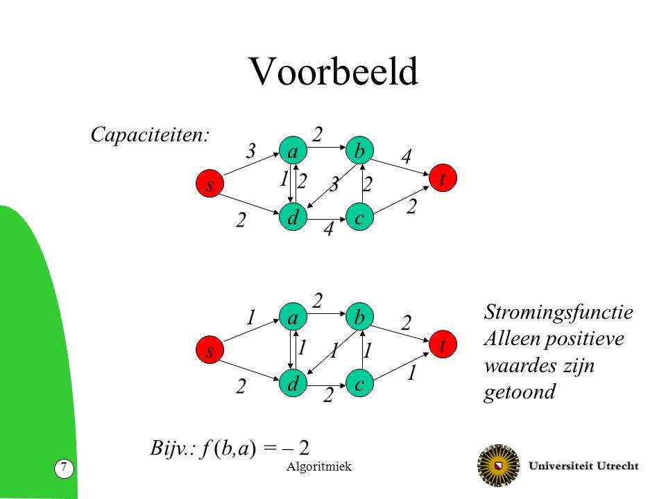Algoritmiek18 Sneden Een s-t-snede in een netwerk G=(N,A) is een partitie van de knopen in twee verzamelingen S en T, zodat –S  T = N –S  T =  –s  S; t  T.