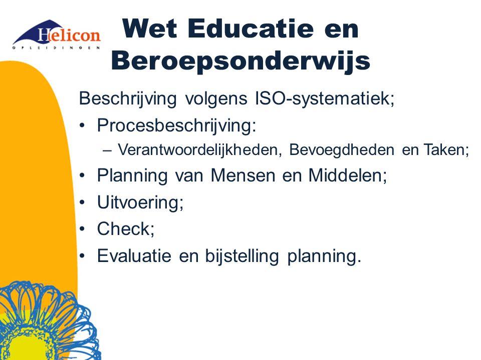 Wet Educatie en Beroepsonderwijs Beschrijving volgens ISO-systematiek; Procesbeschrijving: –Verantwoordelijkheden, Bevoegdheden en Taken; Planning van Mensen en Middelen; Uitvoering; Check; Evaluatie en bijstelling planning.