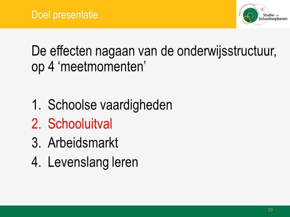 Doel presentatie De effecten nagaan van de onderwijsstructuur, op 4 'meetmomenten' 1.Schoolse vaardigheden 2.Schooluitval 3.Arbeidsmarkt 4.Levenslang