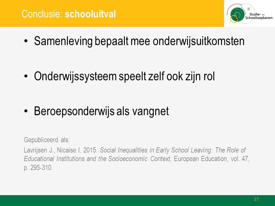 Conclusie: schooluitval Samenleving bepaalt mee onderwijsuitkomsten Onderwijssysteem speelt zelf ook zijn rol Beroepsonderwijs als vangnet Gepubliceer