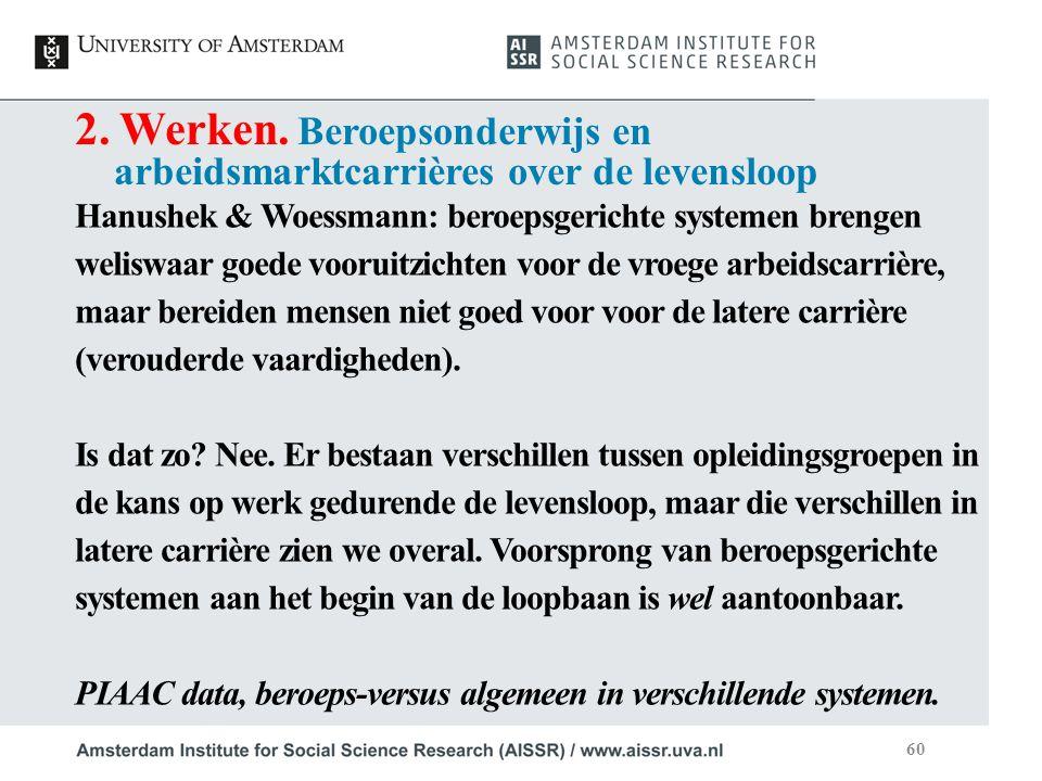 2. Werken. Beroepsonderwijs en arbeidsmarktcarrières over de levensloop Hanushek & Woessmann: beroepsgerichte systemen brengen weliswaar goede vooruit