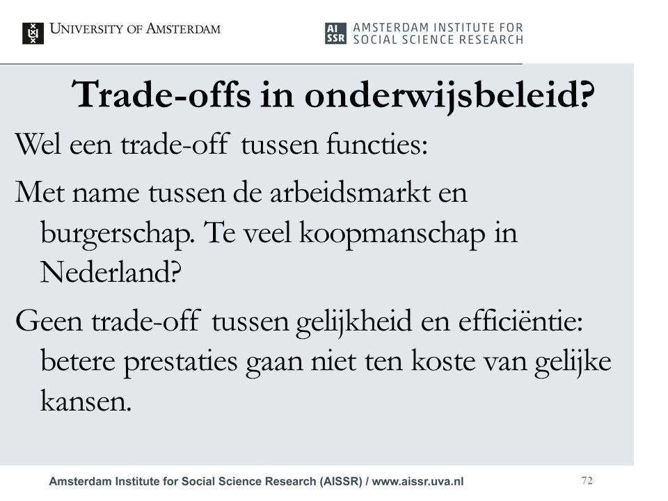Trade-offs in onderwijsbeleid? Wel een trade-off tussen functies: Met name tussen de arbeidsmarkt en burgerschap. Te veel koopmanschap in Nederland? G