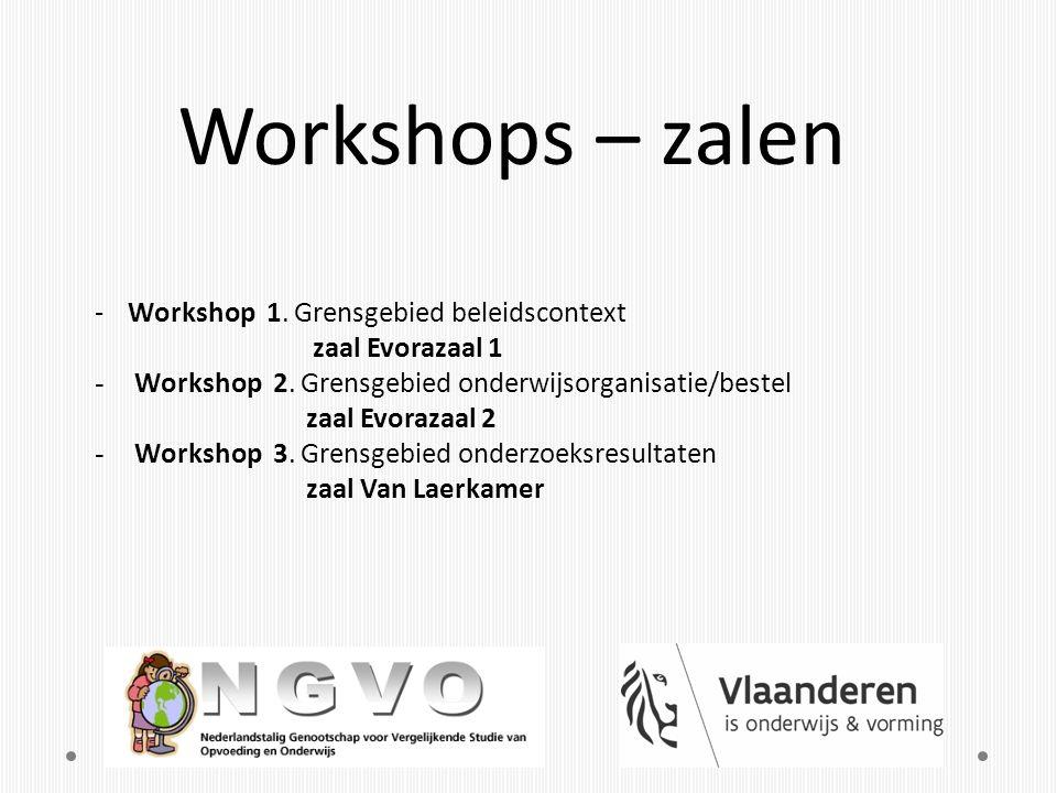 Workshops – zalen -Workshop 1. Grensgebied beleidscontext zaal Evorazaal 1 - Workshop 2. Grensgebied onderwijsorganisatie/bestel zaal Evorazaal 2 - Wo