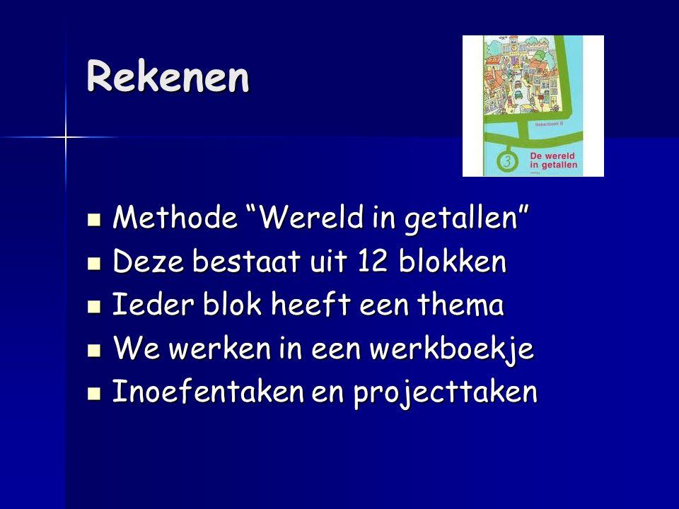 """Rekenen Methode """"Wereld in getallen"""" Methode """"Wereld in getallen"""" Deze bestaat uit 12 blokken Deze bestaat uit 12 blokken Ieder blok heeft een thema I"""