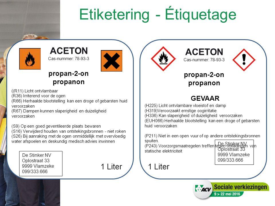 ACETON Cas-nummer: 78-93-3 propan-2-on propanon ( (R11) Licht ontvlambaar (R36) Irriterend voor de ogen (R66) Herhaalde blootstelling kan een droge of gebarsten huid veroorzaken (R67) Dampen kunnen slaperigheid en duizeligheid veroorzaken (S9) Op een goed geventileerde plaats bewaren (S16) Verwijderd houden van ontstekingsbronnen - niet roken (S26) Bij aanraking met de ogen onmiddellijk met overvloedig water afspoelen en deskundig medisch advies inwinnen De Stinker NV Oplostraat 33 9999 Vlamzeke 099/333.666 1 Liter GEVAAR (H225) Licht ontvlambare vloeistof en damp (H319)Veroorzaakt ernstige oogirritatie (H336) Kan slaperigheid of duizeligheid veroorzaken (EUH066) Herhaalde blootstelling kan een droge of gebarsten huid veroorzaken (P211) Niet in een open vuur of op andere ontstekingsbronnen spuiten.