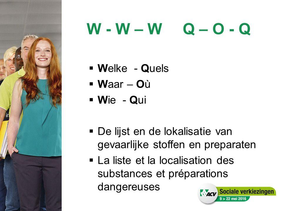 W - W – WQ – O - Q  Welke - Quels  Waar – Où  Wie - Qui  De lijst en de lokalisatie van gevaarlijke stoffen en preparaten  La liste et la localisation des substances et préparations dangereuses