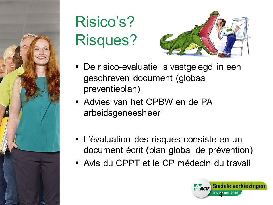 4  De risico-evaluatie is vastgelegd in een geschreven document (globaal preventieplan)  Advies van het CPBW en de PA arbeidsgeneesheer  L'évaluation des risques consiste en un document écrit (plan global de prévention)  Avis du CPPT et le CP médecin du travail Risico's.