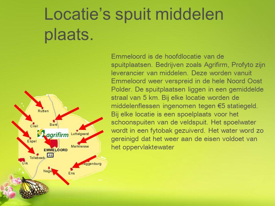 Locatie's spuit middelen plaats. Emmeloord is de hoofdlocatie van de spuitplaatsen.