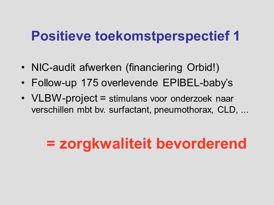 Positieve toekomstperspectief 1 NIC-audit afwerken (financiering Orbid!) Follow-up 175 overlevende EPIBEL-baby's VLBW-project = stimulans voor onderzo