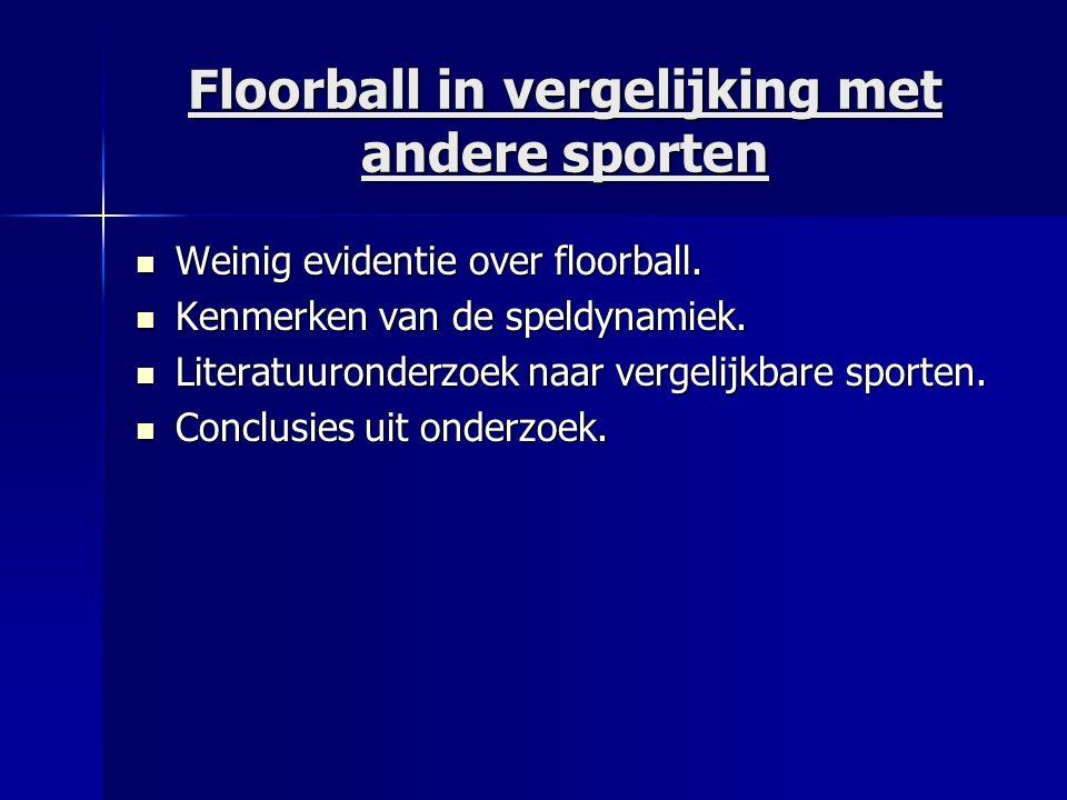 Floorball in vergelijking met andere sporten Weinig evidentie over floorball. Weinig evidentie over floorball. Kenmerken van de speldynamiek. Kenmerke