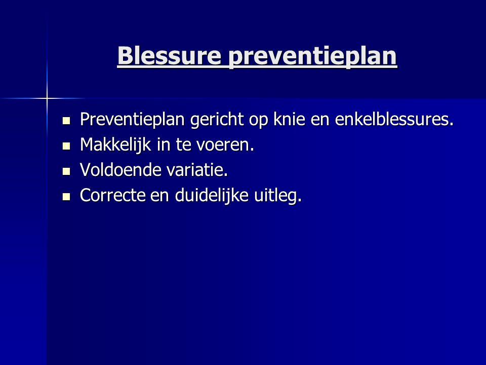 Blessure preventieplan Preventieplan gericht op knie en enkelblessures. Preventieplan gericht op knie en enkelblessures. Makkelijk in te voeren. Makke