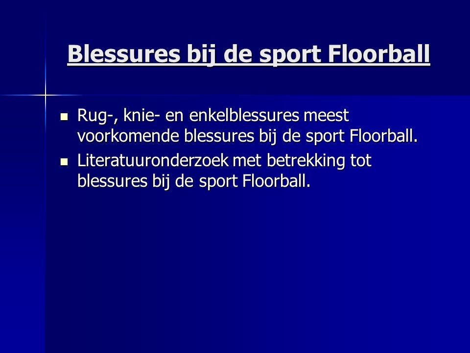 Blessures bij de sport Floorball Injury risk in female floorball: A prospective one-season follow up (Pasanen et al, 2008) Injury risk in female floorball: A prospective one-season follow up (Pasanen et al, 2008) Knie 27% Knie 27% Enkel 22% Enkel 22% Bovenbeen12% Bovenbeen12% Rug8% Rug8% Scheenbeen7% Scheenbeen7%